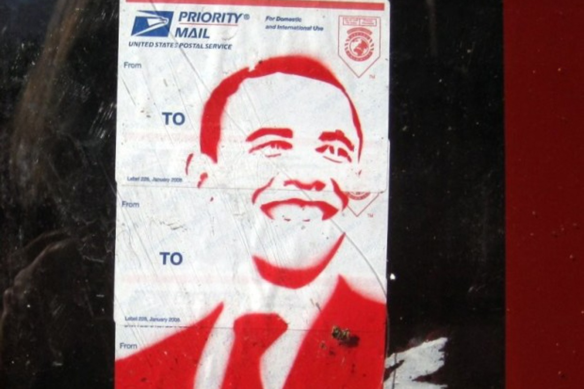 President Obama on a Postal Service Label Tag, Austin, Texas sticker  graffiti 2014  obey artist home new street art sticker video  nyc free  vinyl  shipping graffiti  link  screen urban